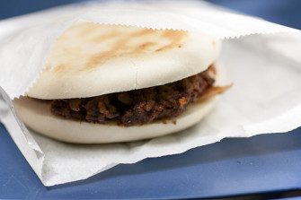 Spicy Cumin Lamb Burger at Xi'an Famous – NYC